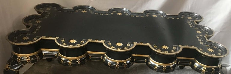 Gold Decorated Black Lacquer Coffee Table For Sale 5