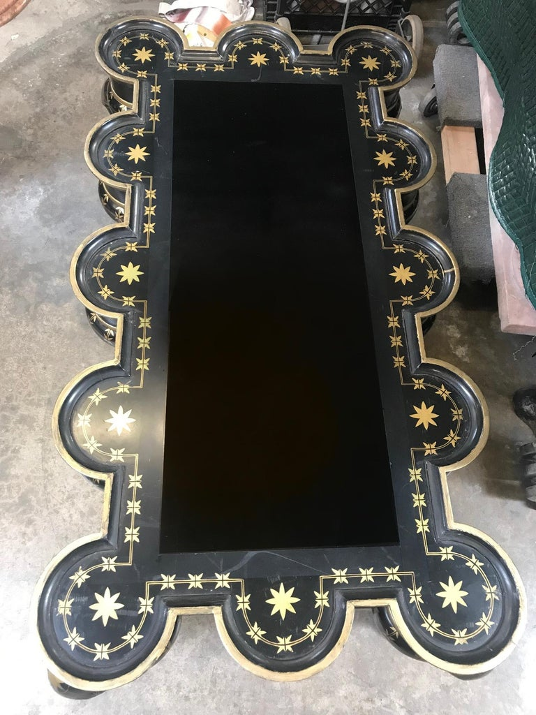 Gold Decorated Black Lacquer Coffee Table For Sale 11