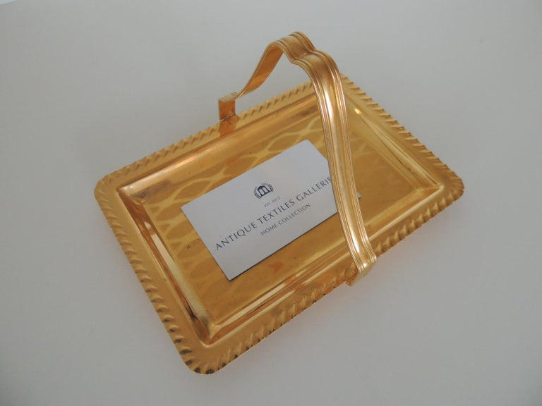 Gold desk business card holder or Tray with Handle Trellis pattern design inset and pinched border around the tray. Size: 4.3/4