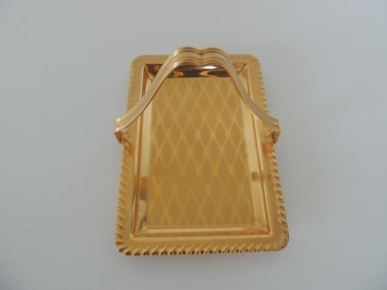 Art Deco Gold Desk Business Card Holder or Tray with Handle For Sale
