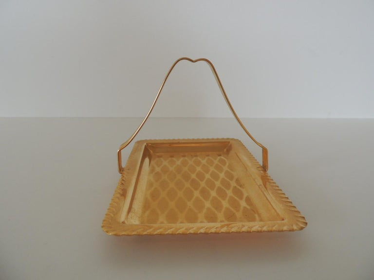 European Gold Desk Business Card Holder or Tray with Handle For Sale