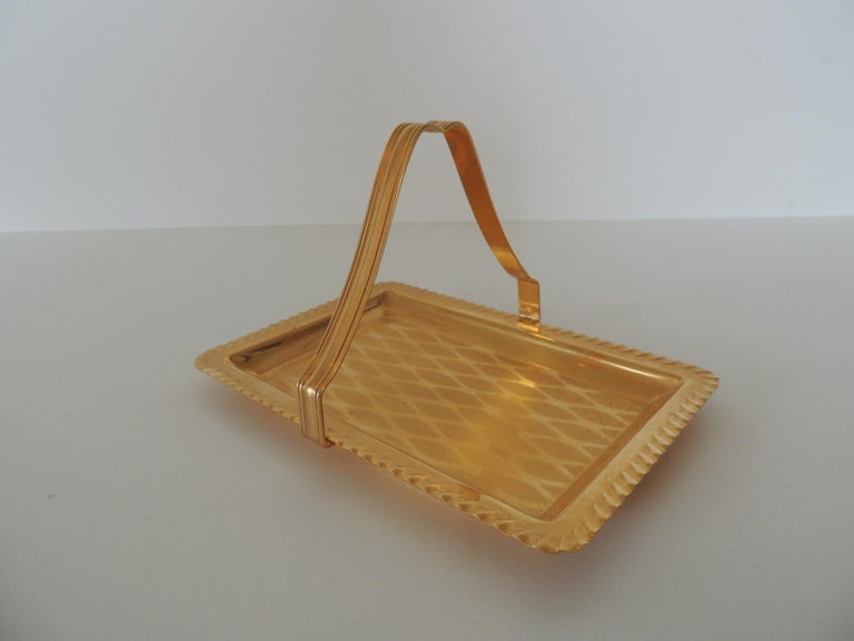 Hand-Crafted Gold Desk Business Card Holder or Tray with Handle For Sale