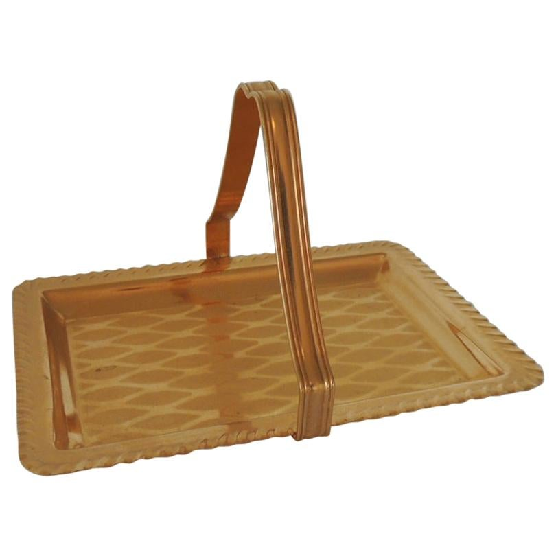 Gold Desk Business Card Holder or Tray with Handle