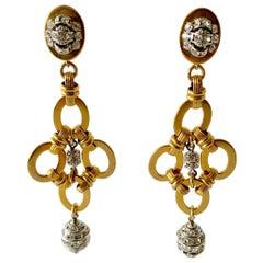 Gold Diamanté Chandelier Statement Earrings