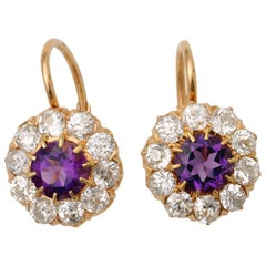 Gold Diamond and Amethyst Earrings