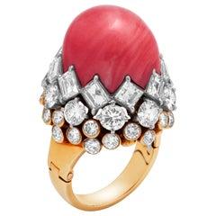 Gold, Diamond and Cabochon Coral Ring by David Webb, Circa 1960s