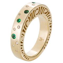 Gold, Diamond and Emerald Band Ring
