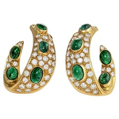 Gold, Diamond and Emerald Earrings by Graff