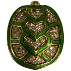 Gold, Diamond, and Enamel Turtle Brooch