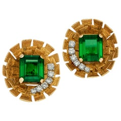 Gold, Diamond and Green Tourmaline Clip Earrings by Andrew Grima