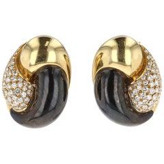 Gold, Diamond, and Hematite Swirl Motif Earrings