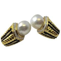 Gold, Diamond and Pearl Earrings