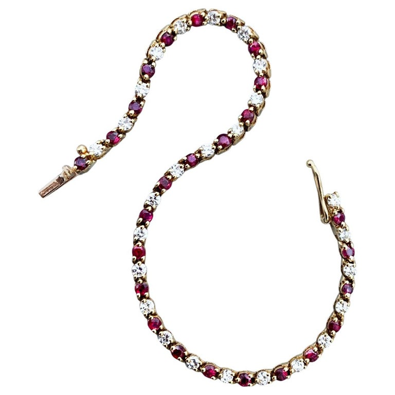 Gold Diamond and Ruby Tiffany & Co. Riviere Bracelet For Sale