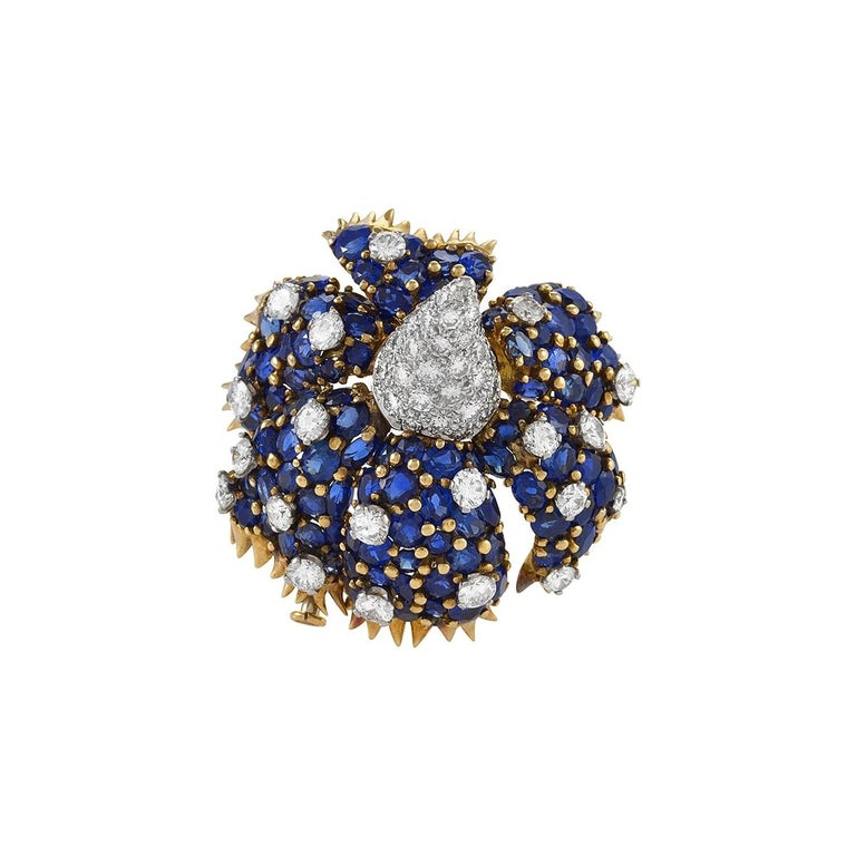 "Gold, Diamond and Sapphire ""Sombrero"" Brooch by Schlumberger For Sale"