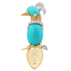 Gold, Diamond and Turquoise Woodpecker Brooch by Cartier