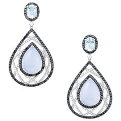 Gold Diamond Aquamarine and Chalcedony Earrings