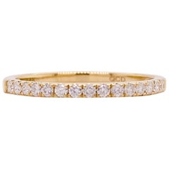 Gold Diamond Band, 14 Karat Yellow Gold