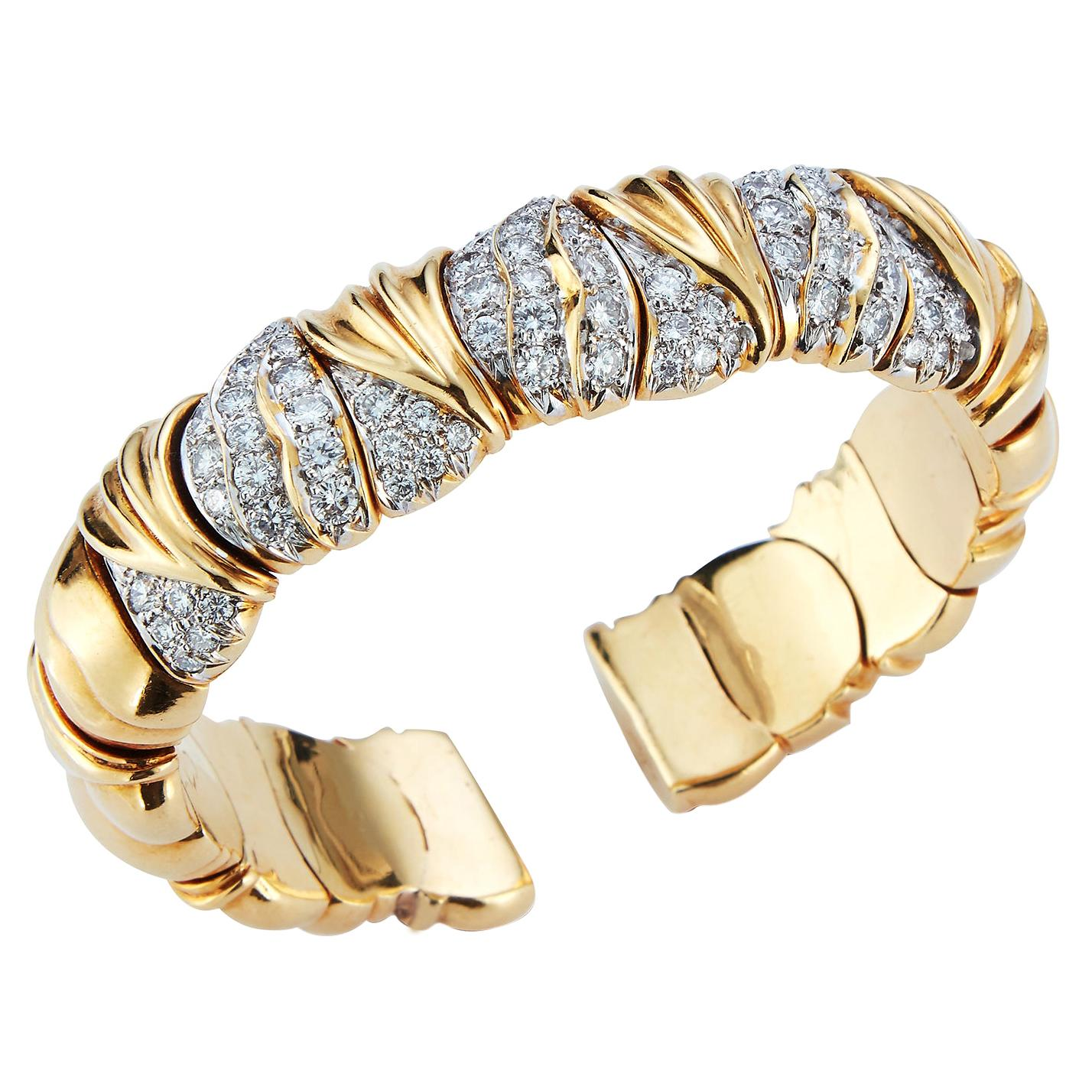 Gold & Diamond Bangle Bracelet