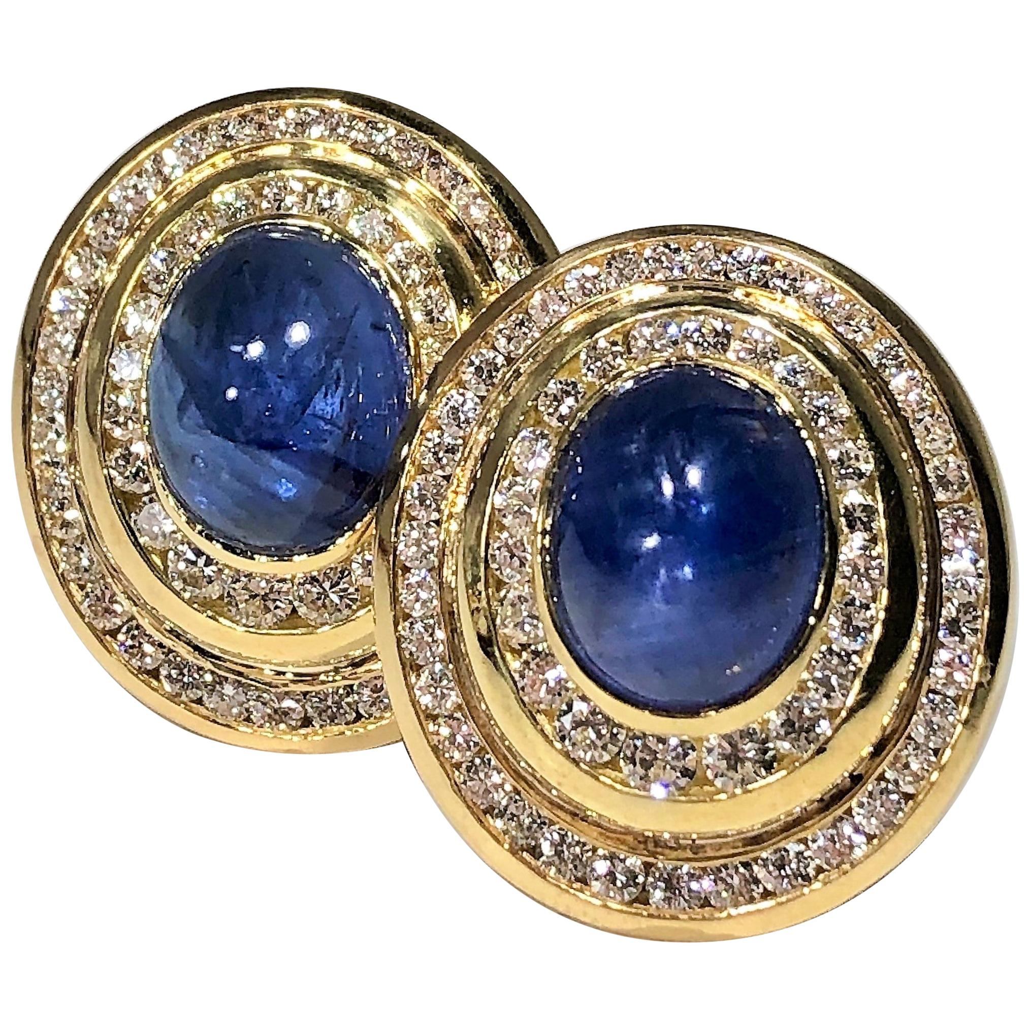 Gold Diamond Cabochon Sapphire Oval Earrings