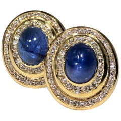 Gold Diamond Cabochon Sapphire Oval Earrings