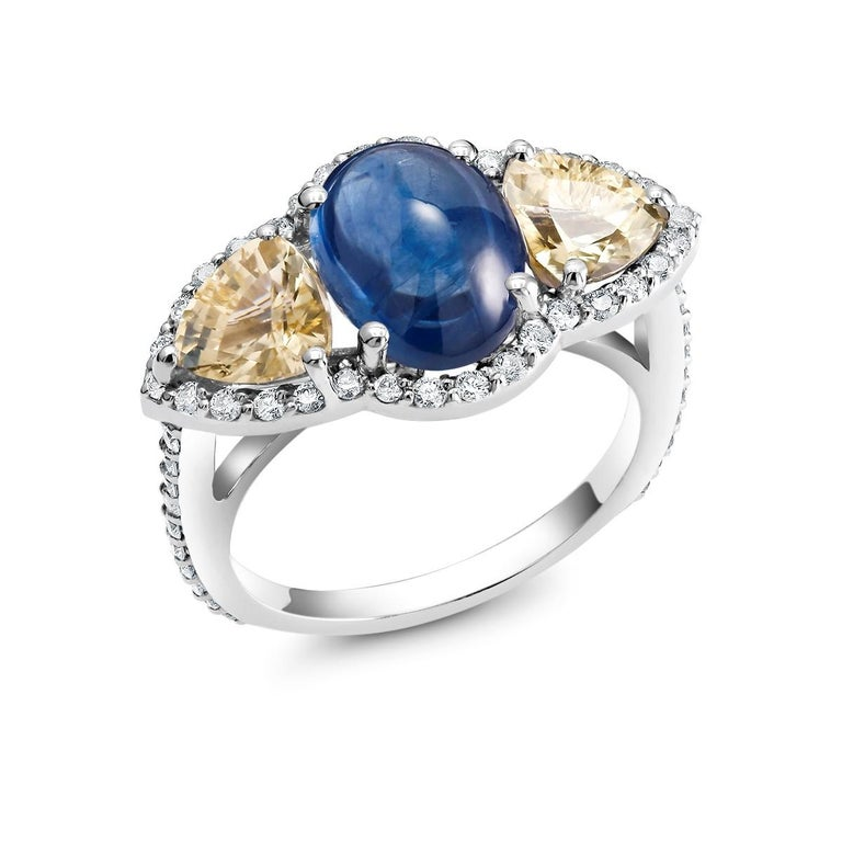 Oval Cut Cabochon Sapphire Yellow Sapphire Diamond Cocktail Gold Ring Weighing 6.74 Carat For Sale