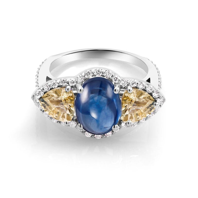 Women's or Men's Cabochon Sapphire Yellow Sapphire Diamond Cocktail Gold Ring Weighing 6.74 Carat For Sale