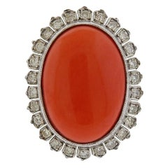 Gold Diamond Coral Dome Ring