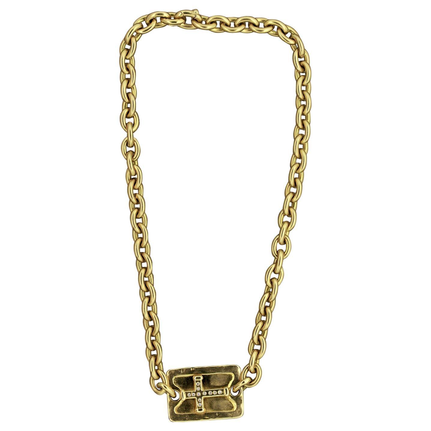 Gold Diamond Cross Chain Necklace