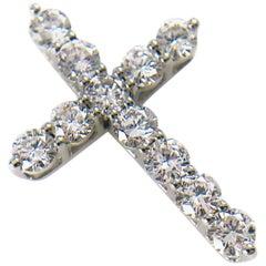 Gold Diamond Cross Pendant, 0.70 Carat