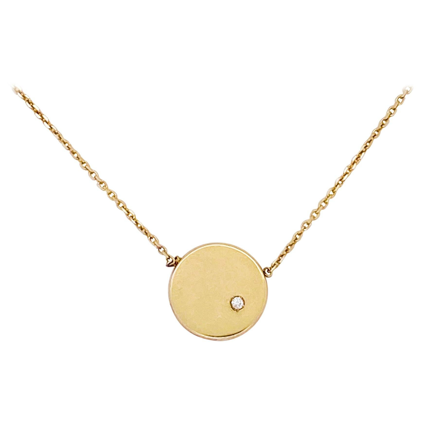 Gold Diamond Disk Necklace 14 Karat Gold Round Diamond Accent Engraving Disk