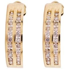 Gold Diamond Earrings, 14 Karat Gold, J Hook Earrings, 48 Diamonds, 1/2 Carat