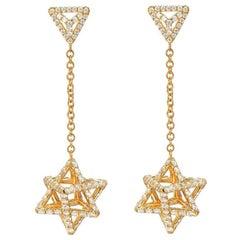 Gold Diamond Earrings 2.39 carats Merkaba Stars