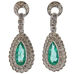 Gold Diamond Emerald Drop Earrings
