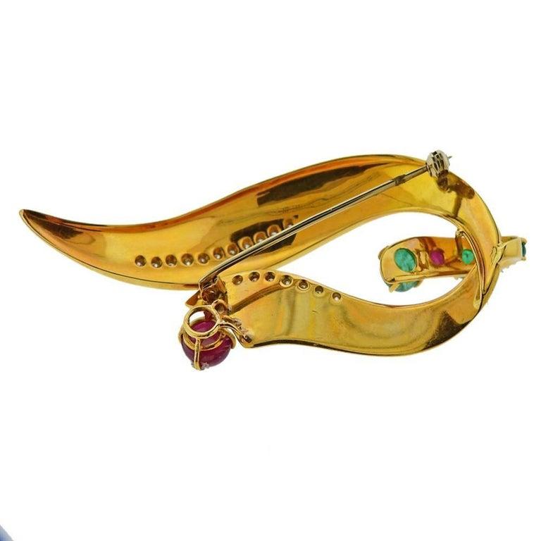 Women's Gold Diamond Emerald Ruby Brooch Pin For Sale