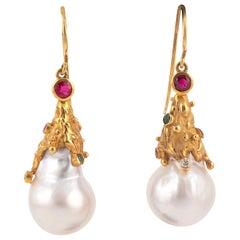 Gold Diamond Emerald Sapphire Baroque Pearl Earrings