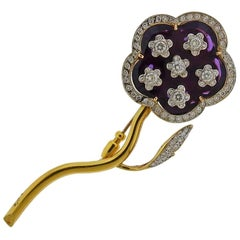 Gold Diamond Enamel Large Flower Brooch