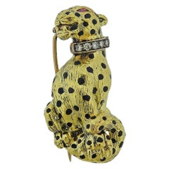 Gold Diamond Enamel Panther Brooch Pin