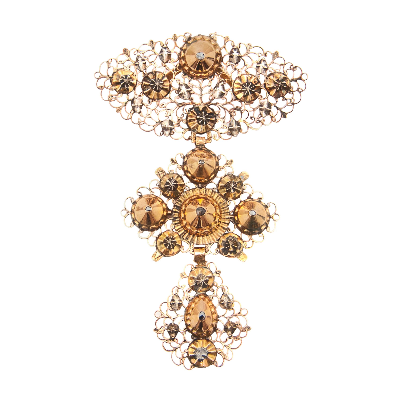 Gold Diamond Filigree Cross Pendant, 18th Century