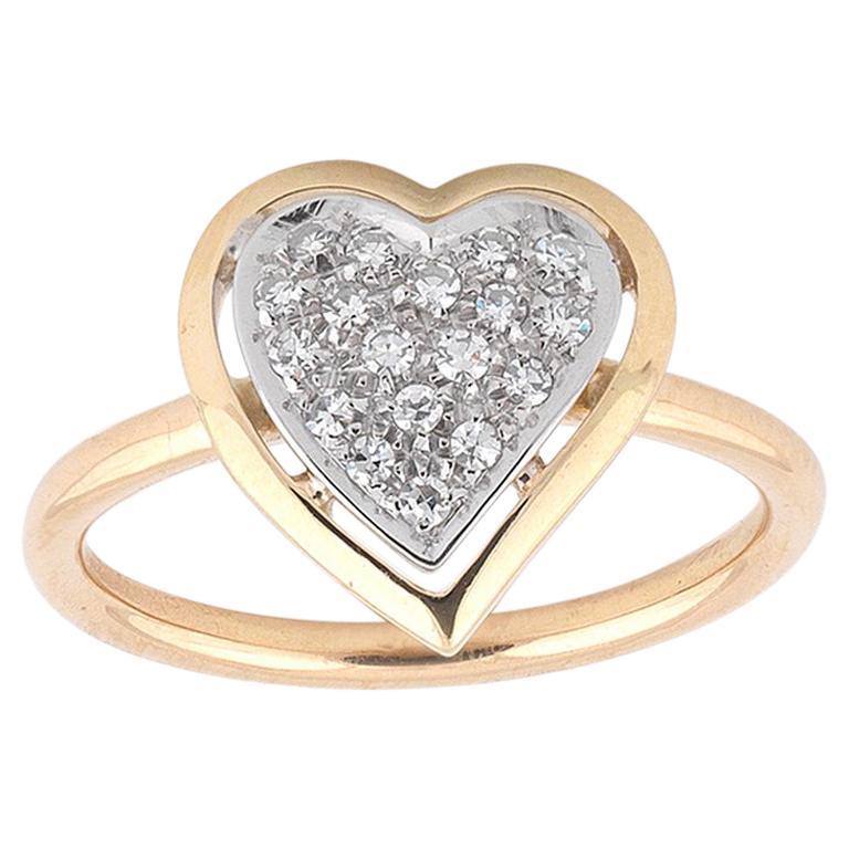 Gold Diamond Heart Diamond Ring