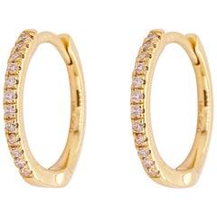 Gold Diamond Hoop Earrings, Gold 18 Karat, 18 Karat, .10 Carat Diamond Huggies