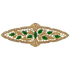 Gold Diamond Jade Brooch Pin