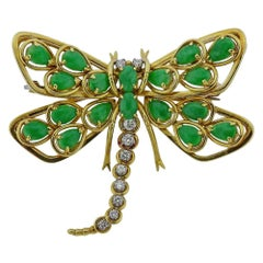 Gold Diamond Jade Dragonfly Brooch Pin