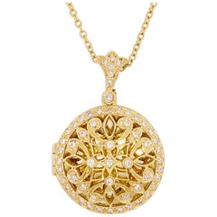 Gold Diamond Locket, Vintage Inspired 14 Karat Gold Filigree Diamond Necklace