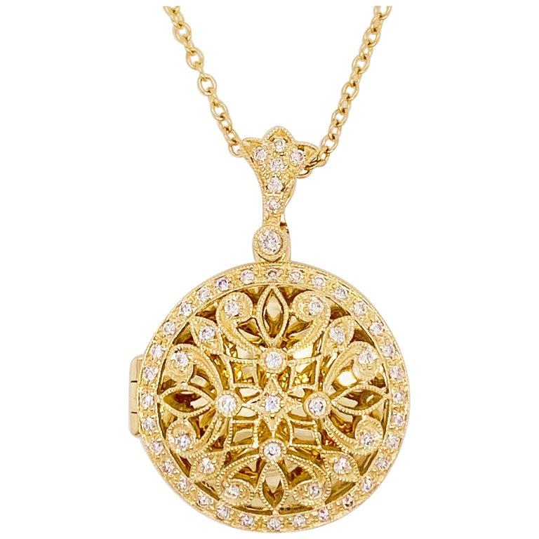 Antique 14K Gold Diamond Locket