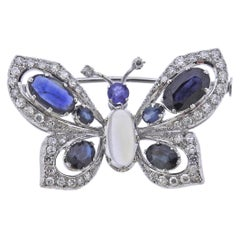 Gold Diamond Moonstone Sapphire Butterfly Brooch