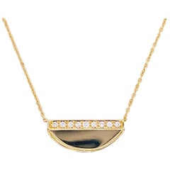 Gold Diamond Necklace, 14 Karat Gold Half Circle, Half Moon, Pendant