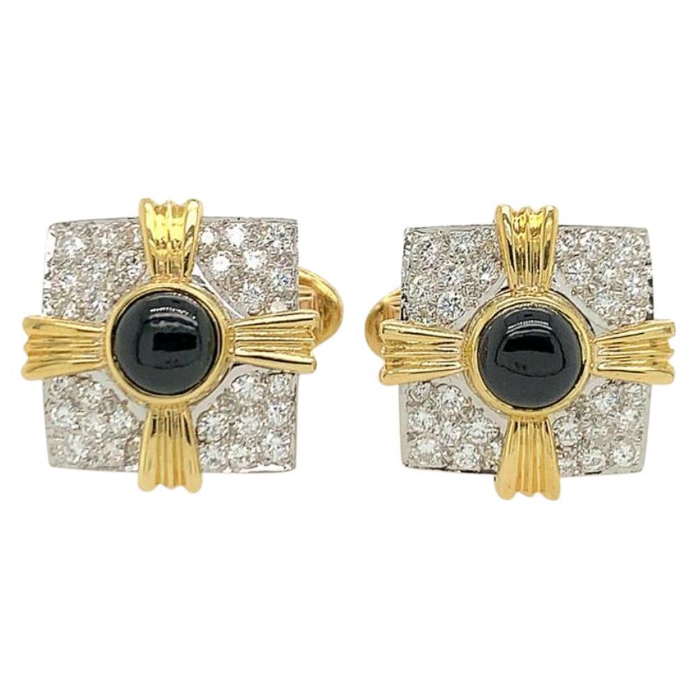 Gold Diamond Onyx Cufflinks