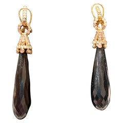Gold Diamond Onyx Drop Earrings