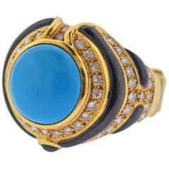 Gold Diamond Onyx Turquoise Ring