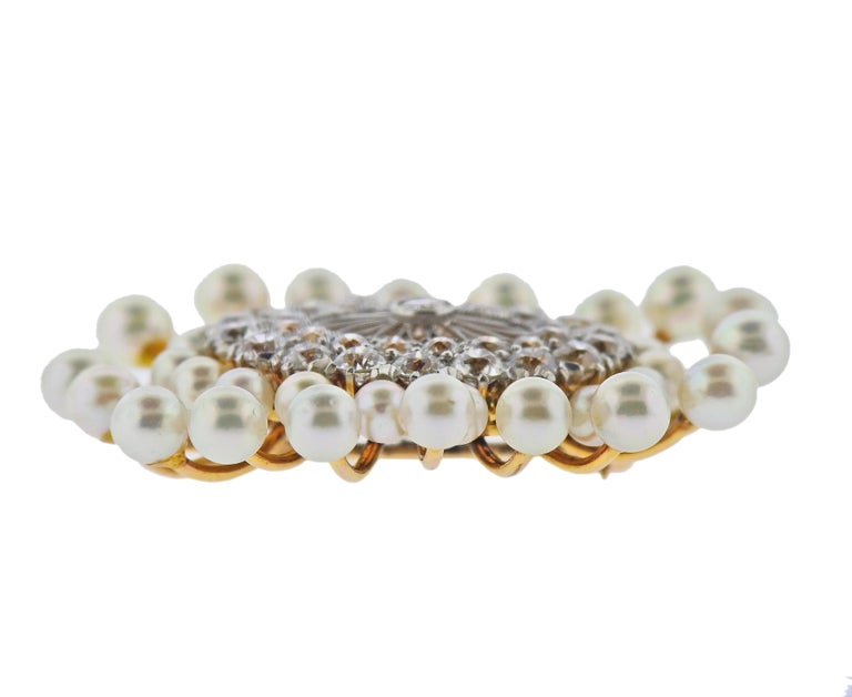 Gold Diamond Pearl Brooch Pin In Excellent Condition For Sale In New York, NY
